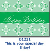 Green Diamonds Birthday Card