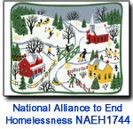 NAEH1744 Folk Art Village Charity holiday card