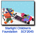Sledding Pals charity holiday card supporting the Starlight Children's Foundation