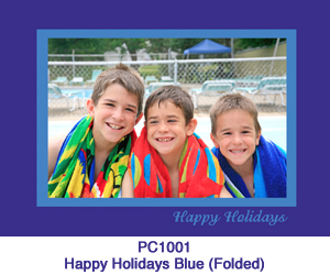 Happy Holidays Blue Photo Card PC1001