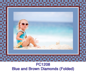 Blue and Brown Diamonds Photo Card PC1208